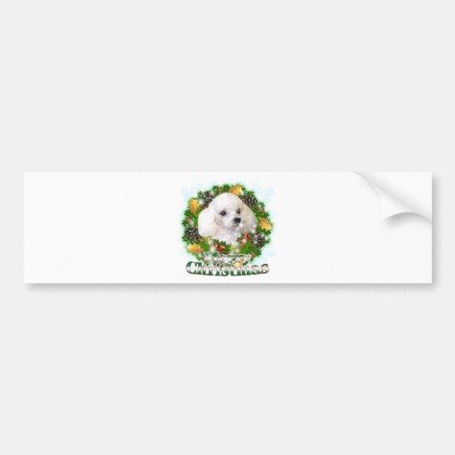 Merry Christmas Poodle Car Bumper Sticker