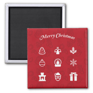 Merry Christmas Popular Icons set Magnet