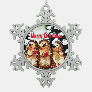 Merry Christmas Porcupine Snowflake Pewter Christmas Ornament