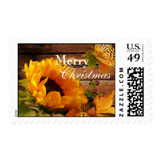 Merry Christmas Postage, Rustic Country Sunflower Postage Stamp