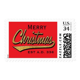 "Merry Christmas Postage Stamp ""Retro EST A.D. 336"""
