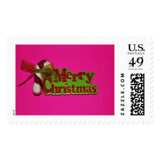 Merry Christmas Postage Stamp  with Pink