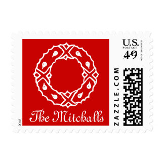 Merry Christmas postage stamps with family name