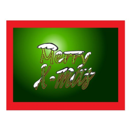 Merry Christmas Postcard Green Big