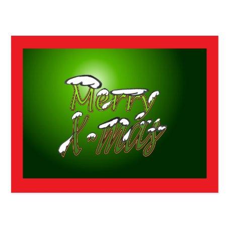 Merry Christmas Postcard Green Big