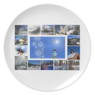Merry Christmas postcard with snowscene Plate