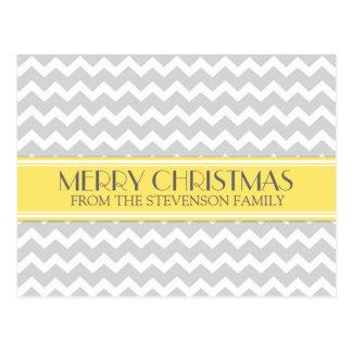 Merry Christmas Postcards Yellow Grey Chevron