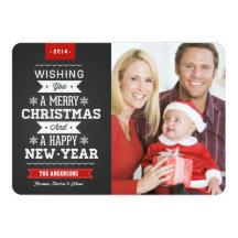 Merry Christmas Preppy Chalkboard 2014 Photo Card Invitations