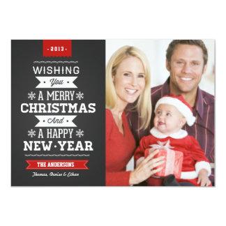 Merry Christmas Preppy Chalkboard Photo Card Custom Announcements