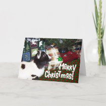 Merry Christmas Presents with Goat Rufus Holiday Card