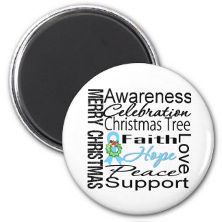 Merry Christmas Prostate Cancer Collage Ribbon 2 Inch Round Magnet