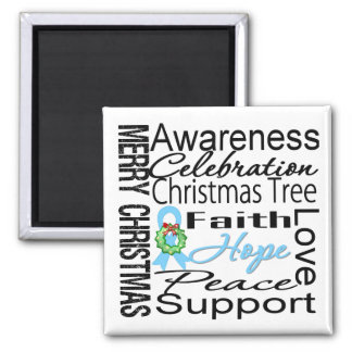 Merry Christmas Prostate Cancer Collage Ribbon 2 Inch Square Magnet