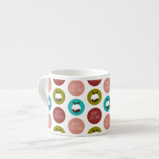 Merry Christmas Pudding Polka Dot Pattern Espresso Cup