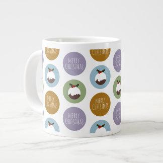 Merry Christmas Pudding Polka Dot Pattern Giant Coffee Mug
