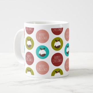 Merry Christmas Pudding Polka Dot Pattern Large Coffee Mug