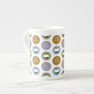 Merry Christmas Pudding Polka Dot Pattern Tea Cup