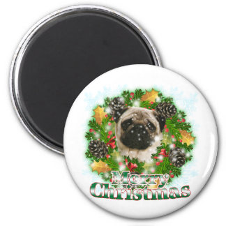 Merry Christmas Pug 2 Inch Round Magnet