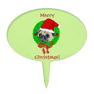 Merry Christmas Pug Cake Pick