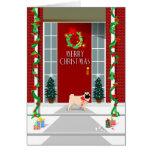 Merry Christmas - Pug Dog at Door - Greeting Card