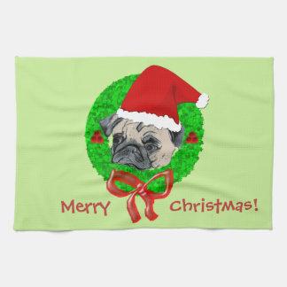 Merry Christmas Pug Kitchen Towel