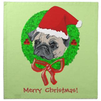 Merry Christmas Pug Napkin