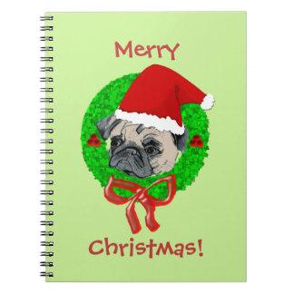 Merry Christmas Pug Notebooks