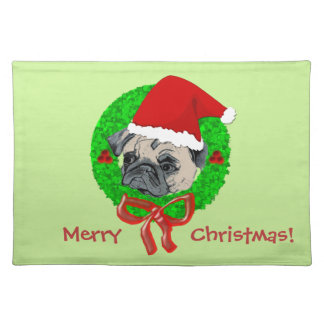 Merry Christmas Pug Placemat