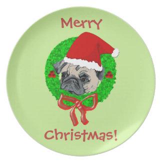 Merry Christmas Pug plates