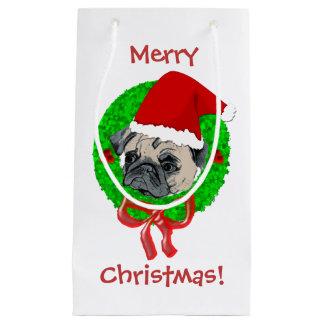 Merry Christmas Pug Small Gift Bag