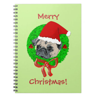 Merry Christmas Pug Spiral Notebook