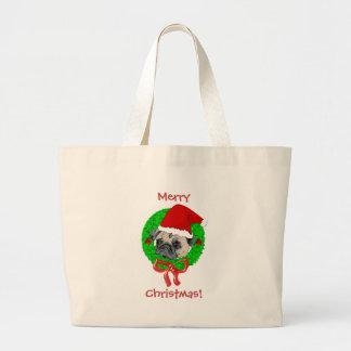 Merry Christmas Pug Tote Bag