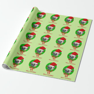 Merry Christmas Pug Gift Wrapping Paper