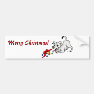 Merry Christmas! Puppy with Bell and Ball Bumper Sticker