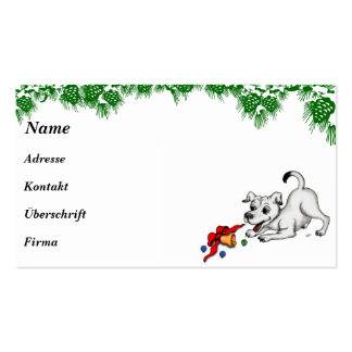 Merry Christmas! Puppy with Bell and Ball Business Card