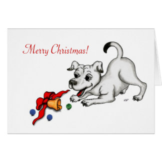 Merry Christmas! Puppy with Bell and Ball Greeting Card
