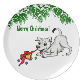 Merry Christmas! Puppy with Bell and Ball Dinner Plate