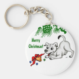 Merry Christmas! Puppy with Bell and Ball Keychain