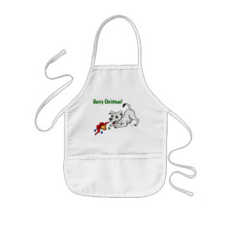 Merry Christmas! Puppy with Bell and Ball Kids' Apron