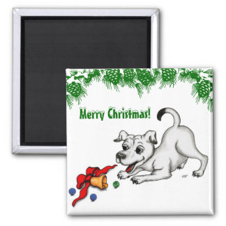 Merry Christmas! Puppy with Bell and Ball Magnet