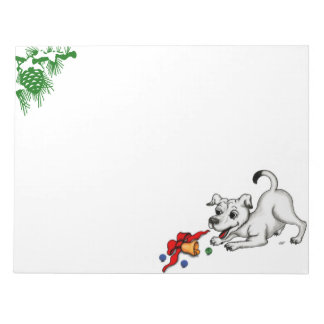 Merry Christmas! Puppy with Bell and Ball Notepad