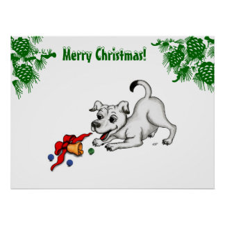 Merry Christmas! Puppy with Bell and Ball Poster