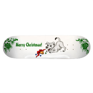 Merry Christmas! Puppy with Bell and Ball Skateboard Deck