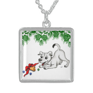 Merry Christmas! Puppy with Bell and Ball Sterling Silver Necklace