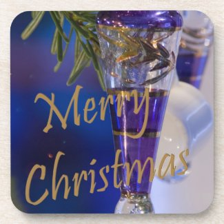 Merry Christmas Purple Ornament Coaster