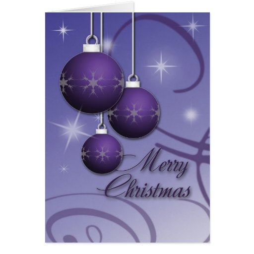 Merry Christmas Purple Ornaments Card