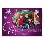 Merry Christmas Purple Photo Greeting Card