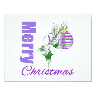 Merry Christmas Purple Theme Candy Ornament Holly Custom Invites