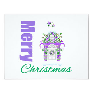 Merry Christmas Purple Theme Candyland House Personalized Invite