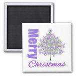 Merry Christmas Purple Theme Christmas Tree 2 Inch Square Magnet