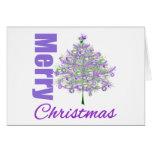 Merry Christmas Purple Theme Christmas Tree Greeting Cards